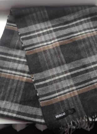 100% шерсть. супер стильный шарф sergio. оригинал