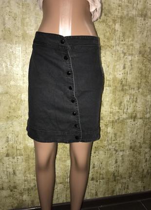 Джинсовая юбка,юбка на пуговицах,cерая юбка.1+1=3