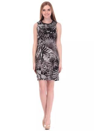 Трендовое платье черно белый лист colin's