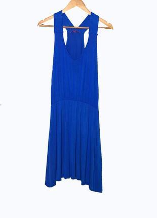 Летнее трикотажное  платье/сарафан из вискозы. цвет синий электрик