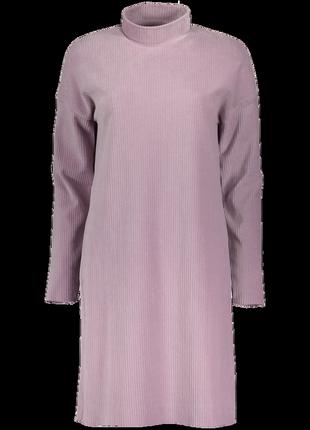 Базовое велюровое платье миди в рубчик р. 12