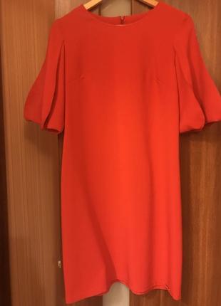 Красное платье рукава фонарики