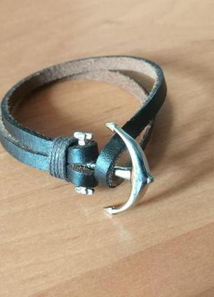 Кожаный браслет с якорем (коричневый)