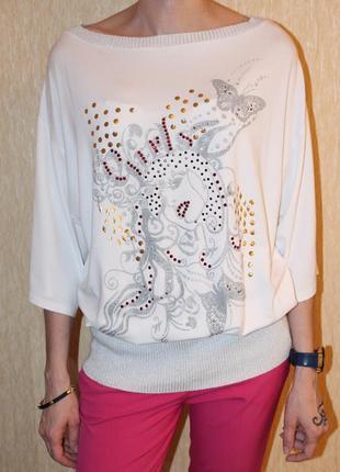 Denim co шикарная, трикотажная блуза с интересным принтом, наш 44/46р. (m/l)