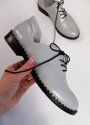 Женские кожаные туфли грей