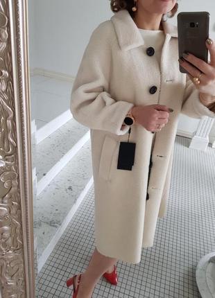 Легкая теплая шуба пальто из натуральной овчины