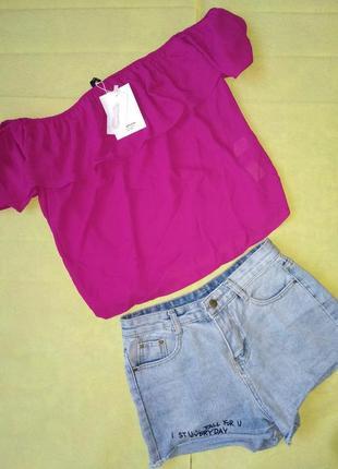Шифоновая малиновая  блузка, топ, с коротким рукавом, оригинал, stradivarius