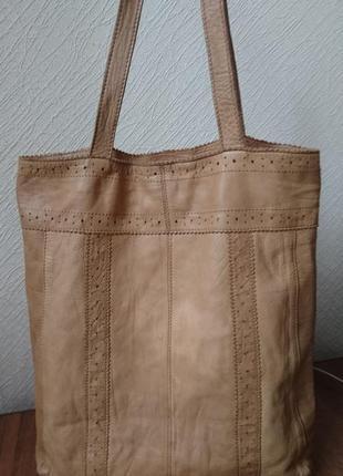 Кожаная сумка шоппер topshop