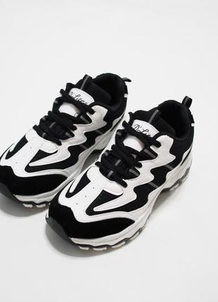 Женские черно-белые кроссовки (крипперы) на толстой подошве 4.5см.