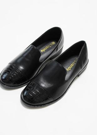 Женские черные туфли (лоферы, мокасины, балетки) из искусственной кожи