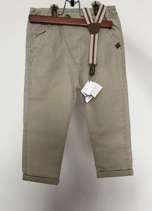 Лляні штанішки для хлопчика із підтяжками
