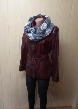 Шикарная кожаная куртка,жакет,пиджак.44-46р.от бренда maria kurki.8 фото