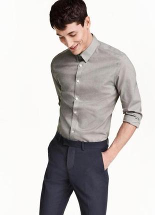 Серая мужская рубашка slim fit