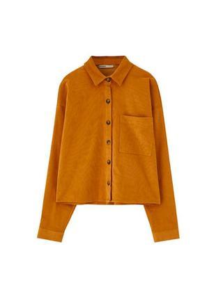 Вельветовая горчичная  рубашка pull&bear