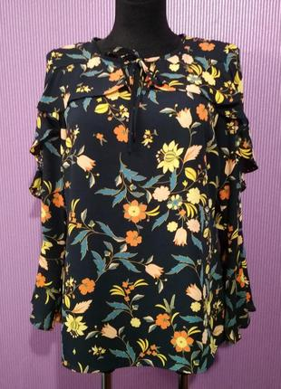 Новая блузка с оборками в цветочный принт, от бренда peacocks.