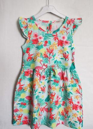 Есть размеры! крутое летнее платье фламинго тропики 2-9 лет
