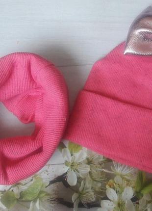 Комплект шапка и хомут малиновый с розовым бантом для девочки