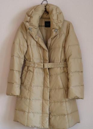 Vip бренд max mara оригинал длинное пальто пуховик 100% натуральный пух
