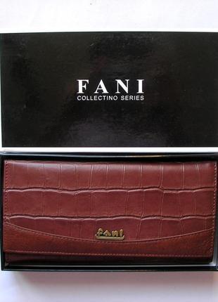 Большой кожаный кошелек крокодил fani, 100% натуральная кожа, есть доставка бесплатн