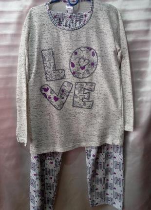 Пижама с сердечками/ клеточками женская love (m/46)