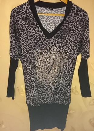 Классный удлиненный джемпер со стразами, кофта, туника, пуловер, blumarine