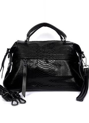 """Женская кожаная сумка-саквояж """"anaconda """" черная"""