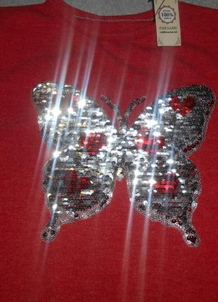 Нарядный свитшот для девочки с реверсными пайетками бабочка3 фото