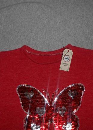Нарядный свитшот для девочки с реверсными пайетками бабочка4 фото