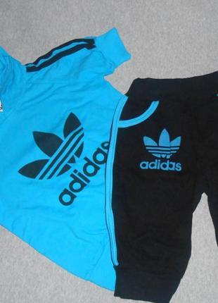 Качественный модный спортивный комплект футболка с капюшоном + бриджи