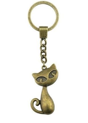 Большой выбор! новый прикольный бронзовый брелок кот кошка котик