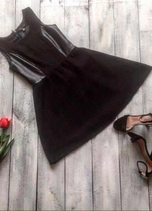 Платье солнце с кожаными вставками