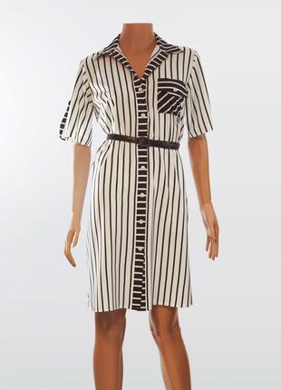 Платье-рубашка в полоску белое