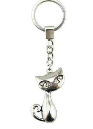 Большой выбор! новый классный серебристый брелок кошка кот