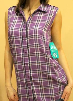 Рубашка, летняя рубашка, женская блуза, рубашка в клетку, длинная рубашка