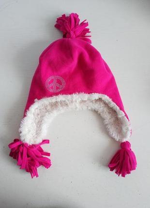 Распродажа!!! флисовая  шапочка шапка на девочку   с плюшевой подкладкой