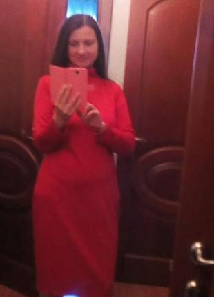 Теплое трикотажное платье под горло3 фото