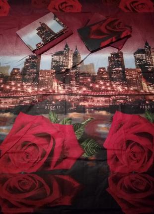 Постільна білизна нічне місто 3д троянди