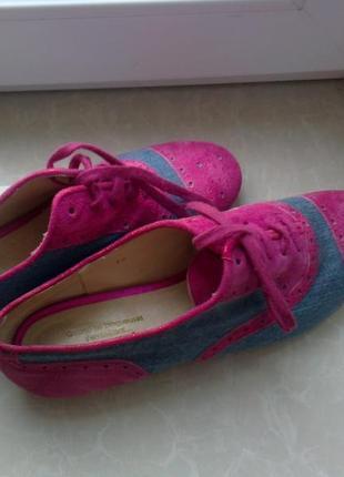 Красивые замшевые туфли с денимом