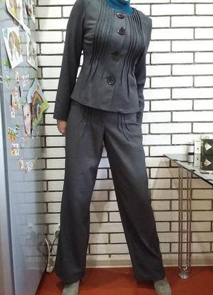 Женский брючный костюм коттон деловой офисный пиджак и брюки-палаццо