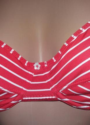 Красный в полосочку бюстгальтер лифчик на косточках без поролона just for you р. 75 с5 фото