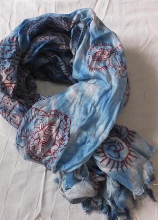 Шарф индийский шаль шарфик палантин деми индия будда ом