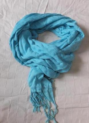 Весенний голубой однотонный шарф шаль шарфик палантин деми