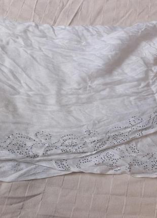 Весенний белоснежный шарф шаль шарфик палантин деми