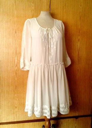 Белое шифоновое платье, m-l.