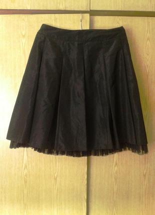 Шелестящая ацетатная черная юбка, xl.