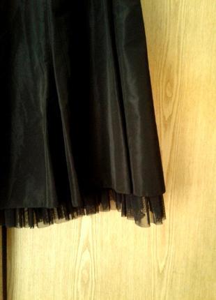Шелестящая ацетатная черная юбка, xl.2 фото