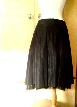 Шелестящая ацетатная черная юбка, xl.3 фото