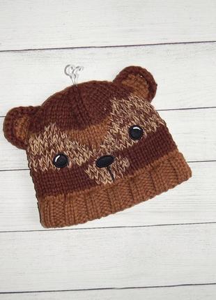 Вязаная шапка с мишкой nutmeg, унисекс 2-4 года.