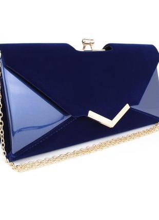 709089a07c82 Вечерний клатч синий велюр/лак, сумочка rose heart 002, расцветки