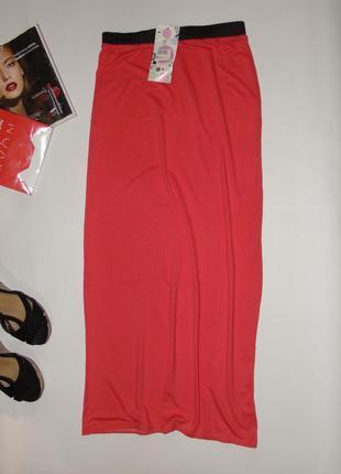 Коралловая длинная юбка/размер м/л